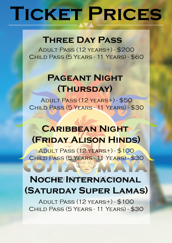 Costa Maya Festival Ticket Prices