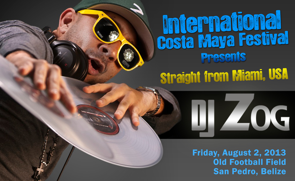 DJ Zog from Miami USA, at International Costa Maya Festival, San Pedro, Ambergris Caye, Belize